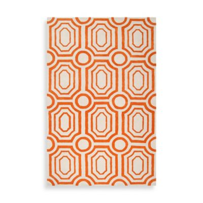 angelo:HOME Hudson Park Geometric Rug 5-Foot x 7-Foot 6-Inch in Orange/White