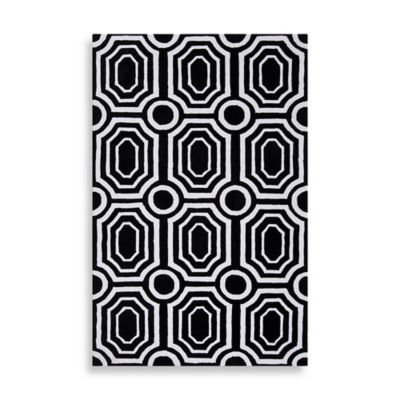angelo:HOME Hudson Park Geometric Rug 3-Foot 3-Inch x 5-Foot 3-Inch in Black/White