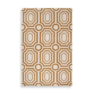 angelo:HOME Hudson Park Geometric 2-Foot x 3-Foot Rug in Gold/White