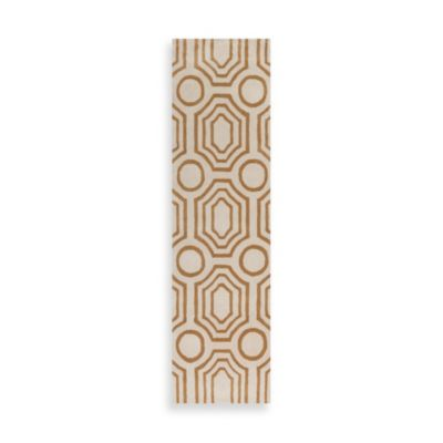 angelo:HOME Hudson Park Geometric 2-Foot 6-Inch x 8-Foot Runner in Gold/White