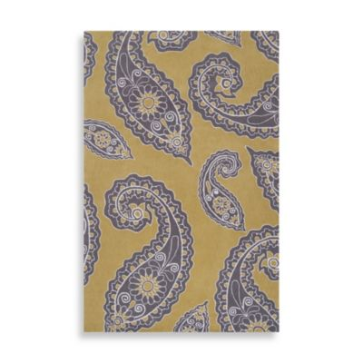 angelo:HOME Hudson Park Paisley Runner 2-Foot 6-Inch x 8-Foot in Yellow/Grey
