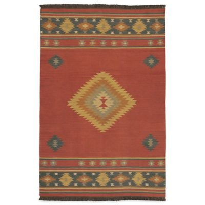 Beja 2-Foot x 3-Foot Rug in Red Clay/Gold/Aquamarine