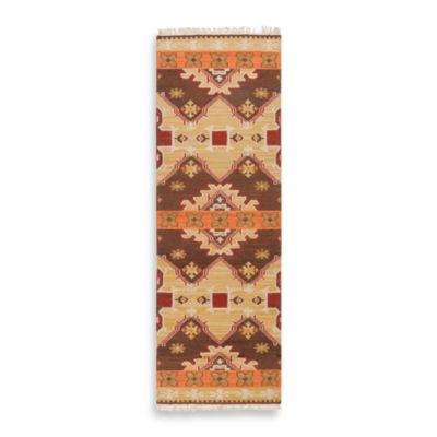 Surya Gandra 2-Foot 6-Inch x 8-Foot Runner in Chocolate/Orange/Rust
