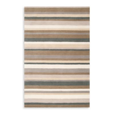 Blue and Tan Striped Rug