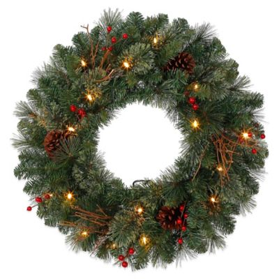 26-Inch Pre-Lit Baywood Holiday Wreath