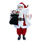 Red and White Santa with Name List Toy Bag