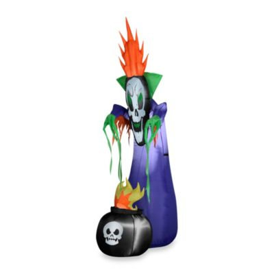 Inflatable Outdoor Haunting Reaper with Cauldron