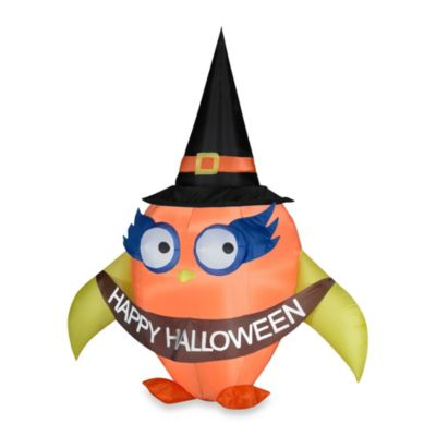Inflatable Outdoor Halloween Owl with Banner