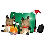 4-Foot Inflatable Santa with Reindeers Camping Scene