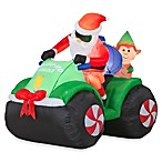 54-Inch Animated Inflatable Santa with Elf on 4 Wheeler