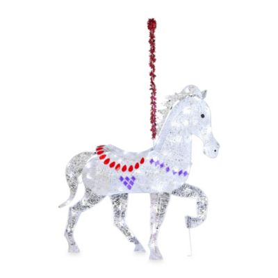 5-Foot StarryNight Crystal Clear LED Light Carousel Horse