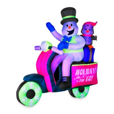 Inflatable Outdoor 66-Inch Neon Snowman on Scooter