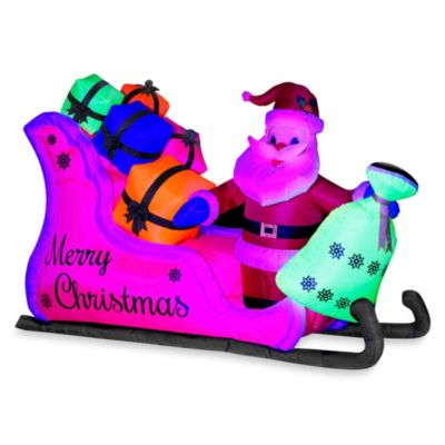 Inflatable Outdoor 55-Inch Neon Santa in Sleigh