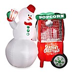 66-Inch Animated Inflatable Snowman with Popcorn Machine
