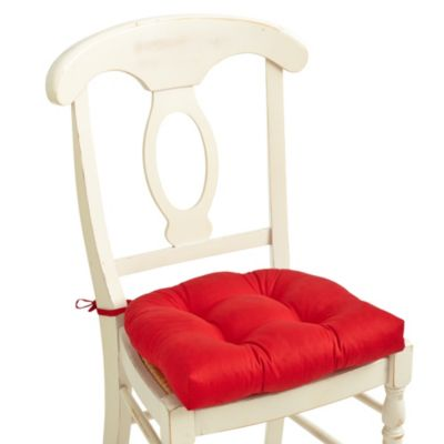 Twill-Tufted Waterfall Chair Pad with Ties in Holiday Red