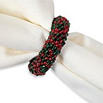 Beaded Wreath Napkin Ring in Red/Green (Set of 4)