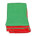 Solid Bar Mop 6-Pack of Kitchen Linens - Red/Green