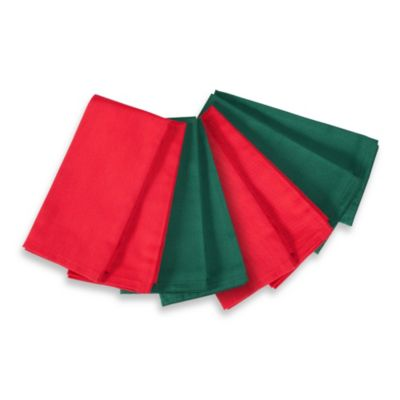 Holiday Napkins in Green and Red (Set of 8)