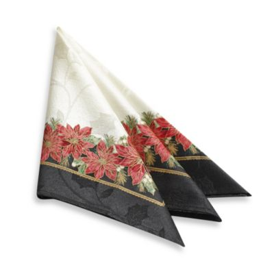 Holiday Contempo Poinsettia 4-Pack of Napkins