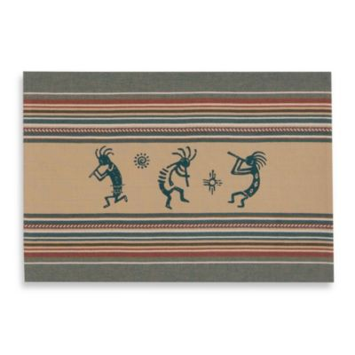 Woven Printed Placemat with Kokopelli Design in Turquoise