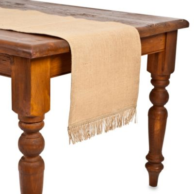 ecoaccents Natural Burlap Table Runner with Fringe