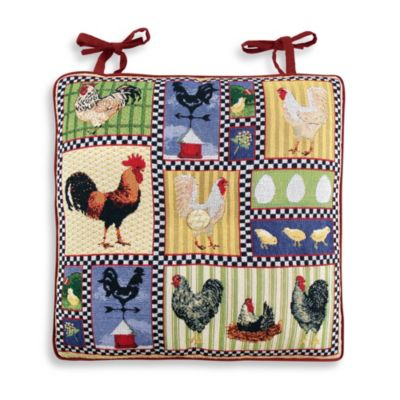 Park B. Smith® Roosters and Chickens Tapestry Chair Pads