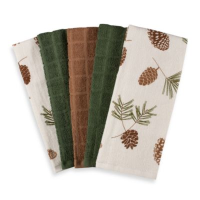 Pine Cone Print and Solid 5-Pack of Terrycloth Kitchen Towels – 100% Cotton