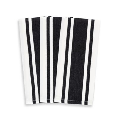 3-Pack Heavyweight Striped Kitchen Towels in Black
