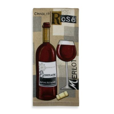 Fine Red Wine Print Kitchen Towel