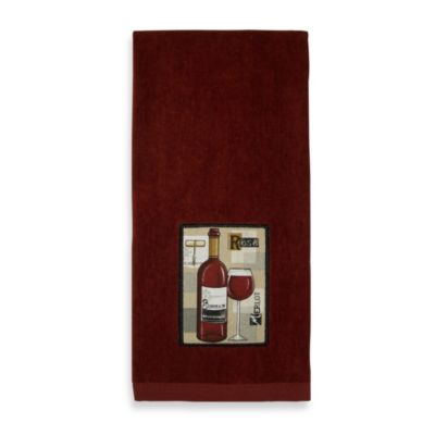 Fine Red Wine Applique Kitchen Towel