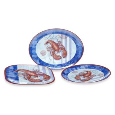 Certified International Lobster 3-Piece Platter Set