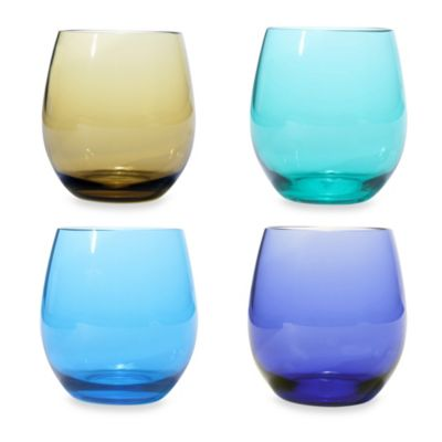 Oenophilia Stemless Wine Glass Set in Jeweltone (Set of 4)
