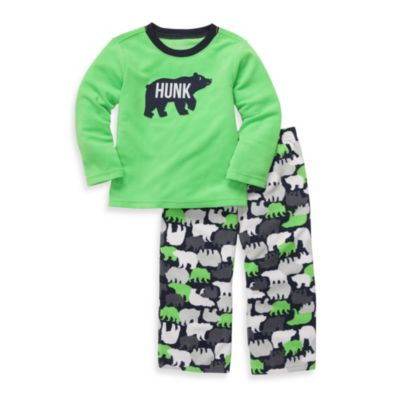 "Carter's® ""Hunk"" Bear Print 2-Piece Pajamas in Green"