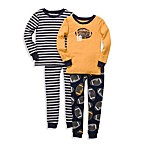 Carter's® Football Print Snug Fit 4-Piece PJ Set in Yellow and Blue