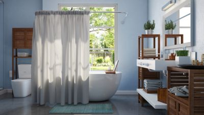 Shower Curtain Navy and Gray