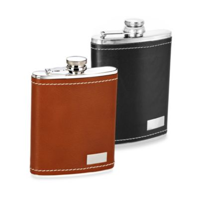 Genuine Leather 8-Ounce Flask in Brown