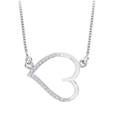10K White Gold 0.07 cttw Diamond East- West Heart Pendant