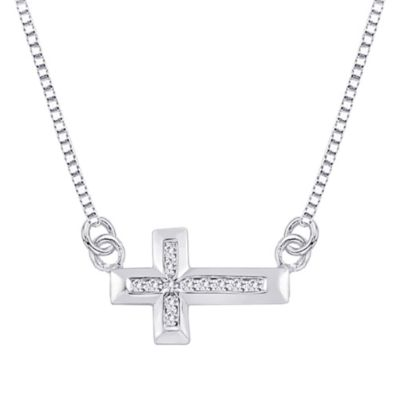 10K White Gold 0.12 cttw Diamond East-West Cross Pendant