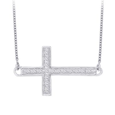 10K White Gold 0.08 cttw Diamond East-West Cross Pendant