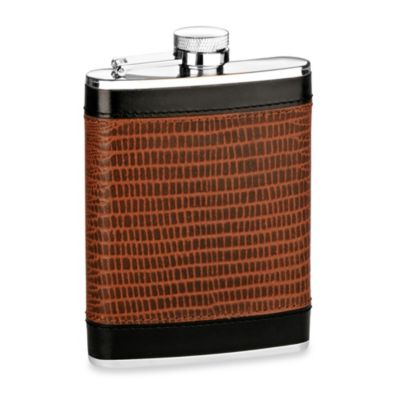 Genuine Leather 6-Ounce Flask with Lizard Finish