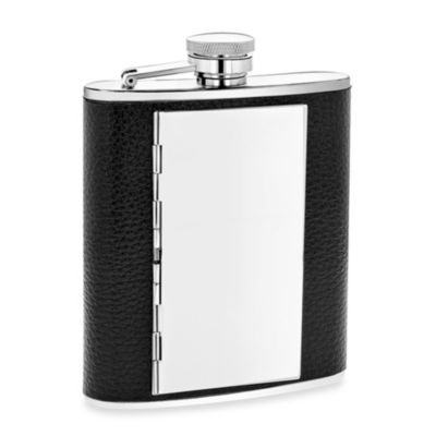 Faux Leather 6-Ounce Flask with Compartment