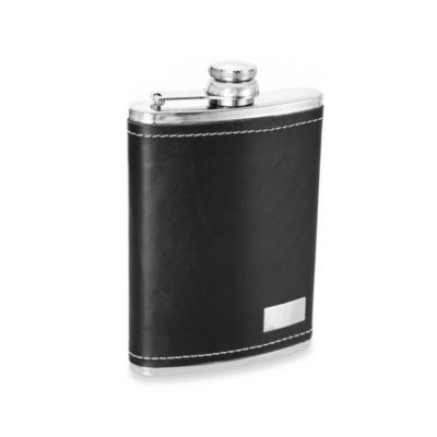 Wilouby Genuine Leather 8-Ounce Flask in Black