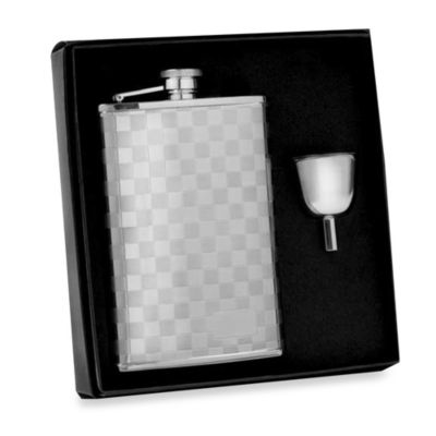 Stainless Steel 8-Ounce Checkered Flask in Gift Box