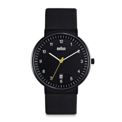 Braun® Classic Men's Watch with Steel Mesh Band in Black