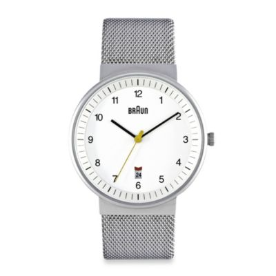 Braun® Classic Men's Watch with Steel Mesh Band in White
