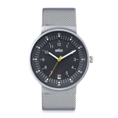 Braun® Classic Men's Watch with Stainless Steel Mesh Bracelet in Grey