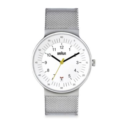 Braun® Classic Men's Watch with Stainless Steel Mesh Bracelet in White