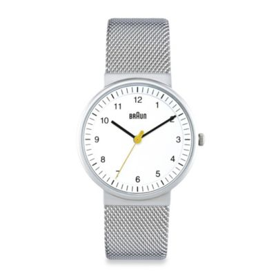 Braun® Ladies Watch with Stainless Steel Mesh Bracelet in White