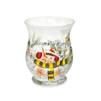 Yankee Candle® Snowman Crackle Hurricane Votive Candle Holder
