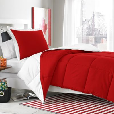 Micro Splendor White/Red Reversible Comforter Set